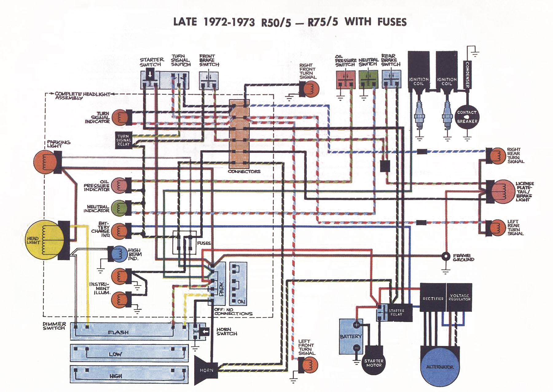 1971 bmw r75 5 wiring diagram r75/5 not starting after a long days ride